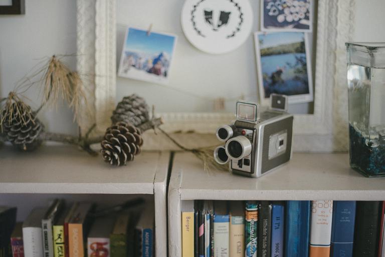 camera on a shelf