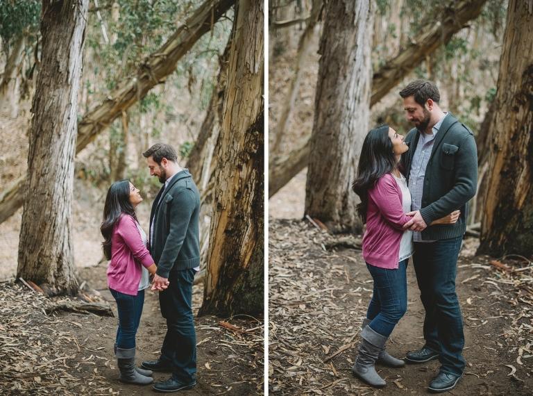 Engagement photo in eucalyptus trees
