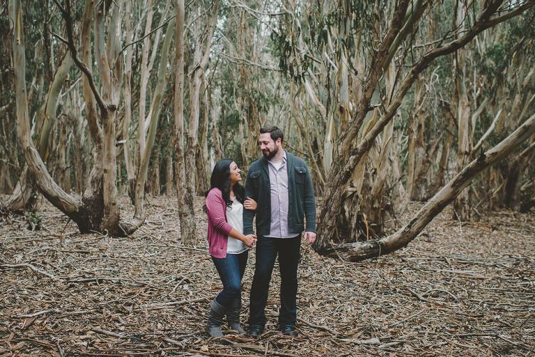 Couple in eucalyptus trees