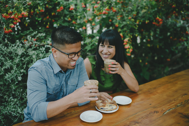 Big sur bakery engagement photo sitting on patio